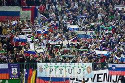 Slovenian fans at  the 2010 FIFA World Cup South Africa Qualifying match between Slovakia and Slovenia, on October 10, 2009, Tehelne Pole Stadium, Bratislava, Slovakia. Slovenia won 2:0. (Photo by Vid Ponikvar / Sportida)