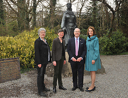 Meeting up with the O'Malley's........ US Ambassador to Ireland Kevin O'Malley and his wife Dena pictured with Karen and Sheelyn Browne in front of the bronze statue of Grace O'Malley at Westport House on tuesday last where the Ambassador launched the exhibition 'Westport House and and the Famine' The Lady Sligo's letters. The exhibiton will remain on display at Westport House throughout the season.<br /> Pic Conor McKeown