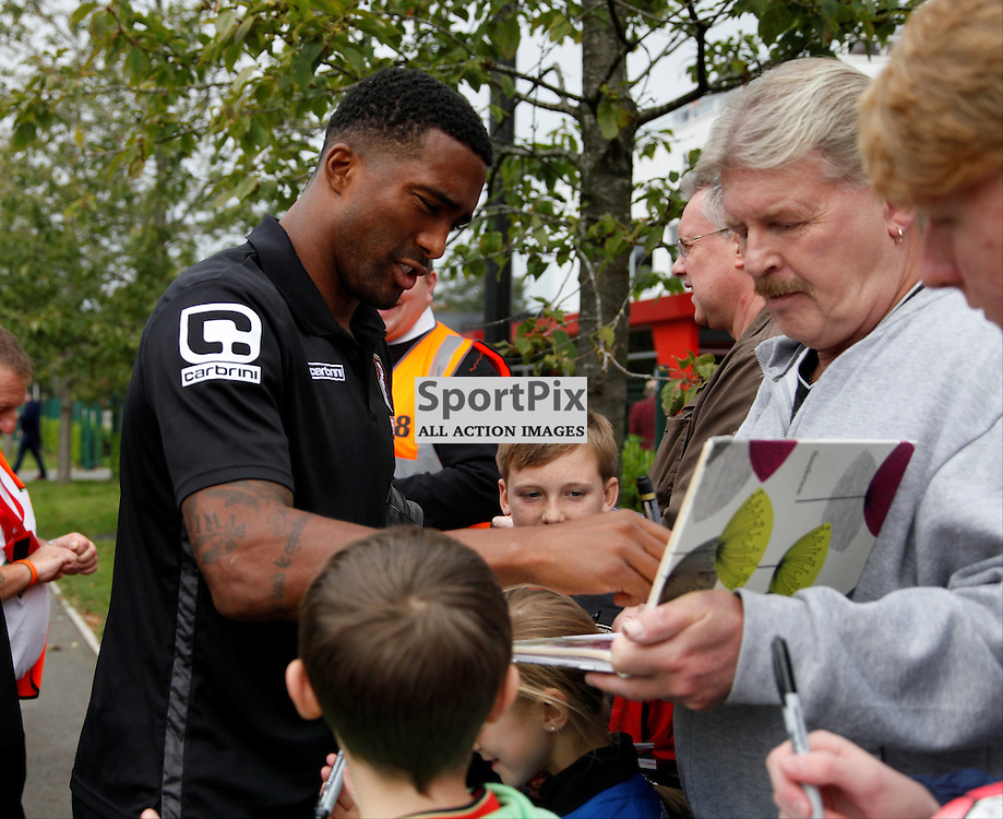 Sylvain Distin of Bournemouth signs autographs before Bournemouth vs Watford on Saturday 3rd of October 2015.