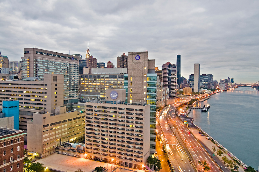 NYC Medical Center, New York City, New York, East Side, East RIver, FDR Drive, Highway by East River, Dawn