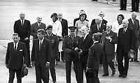 95348<br /> American President John Fitzgerald Kennedy (JFK)'s visit to Ireland, President John F Kennedy arrives at Dublin Airport, among the people here are Seán Lemass, Éamon de Valera, Eunice Shriver and Jean Smith, 26/06/63  (Part of the Independent Newspapers Ireland/NLI Collection).