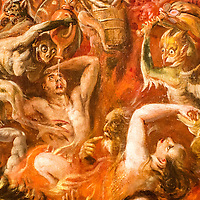Demons torturing the damned souls, detail from the Final Judgement painting (1570) by Martin de Vos. Museum of Fine Arts, Seville, Spain