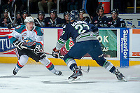 KELOWNA, CANADA -FEBRUARY 10: Evan Wardley #27 of the Seattle Thunderbirds checks Colten Martin #8 of the Kelowna Rockets as he makes a pass on February 10, 2014 at Prospera Place in Kelowna, British Columbia, Canada.   (Photo by Marissa Baecker/Getty Images)  *** Local Caption *** Evan Wardley; Cole Martin; Colten Martin;