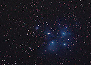 The seven sisters also known as pleiades or subaru. Officially designated as the open cluster M45. <br />