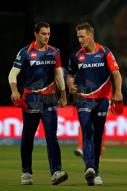 Patrick Cummins and Chris Morris of Delhi Daredevils during match 5 of the Vivo 2017 Indian Premier League between the Royal Challengers Bangalore and the Delhi Daredevils held at the M.Chinnaswamy Stadium in Bangalore, India on the 8th April 2017Photo by Prashant Bhoot - IPL - Sportzpics