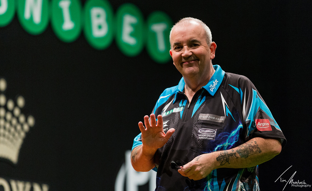 MELBOURNE, Australia - Sunday 20 August 2017: Phil Taylor during the semi finals of the Unibet Melbourne Dart Masters at Hisense Arena on Sunday 20 August 2017.<br /> <br /> Photo Credit: Tim Murdoch/Tim Murdoch Photography