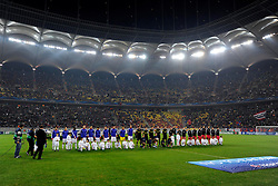 22.10.2013, Ghencea Stadion, Bukarest, ROM, UEFA CL, Steaua Bukarest vs FC Basel, Gruppe E, im Bild Die Teams vor Spielbeginn // during the UEFA Champions League group E match between Steaua Bukarest and FC Basel at the Ghencea Stadion in Bukarest, Romania on 2013/10/23. EXPA Pictures &copy; 2013, PhotoCredit: EXPA/ Freshfocus/ Andy Mueller<br /> <br /> *****ATTENTION - for AUT, SLO, CRO, SRB, BIH, MAZ only*****