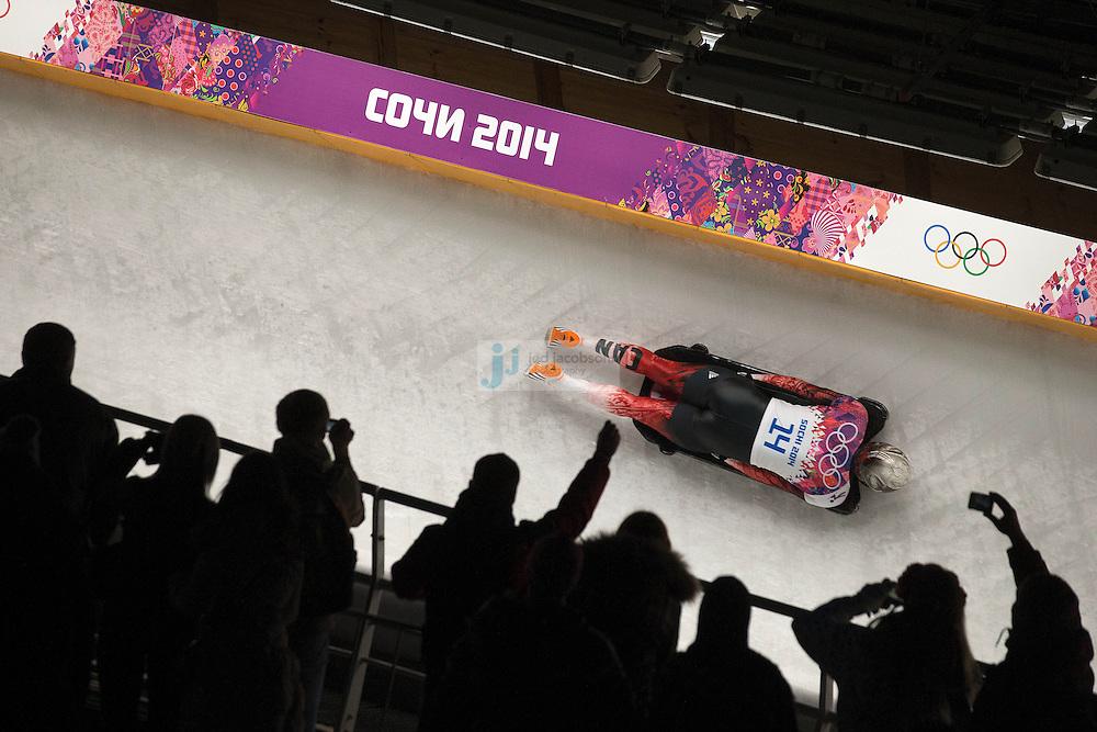 Skeleton: 2014 Winter Olympics: Canada's Eric Neilson in action during the Men's Skeleton at the Sanki Sliding Center in Rosa Khutor during the Sochi Winter Olympics on February 15, 2014.