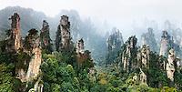 Mountans of Zhangjiajie National Forest Park, panoramic landscape scenery, Zhangjiajie, Hunan, China