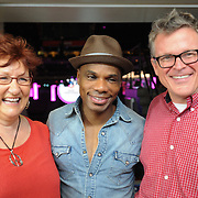 "Kirk Franklin arrives at U.S. Bank Arena on July 3rd, 2012. to rehearse his song ""I Can,"" the official song of the 2012 World Choir Games. Joining him are Artistic Director for INTERKULTUR Kim Mann and John Morris Russell, conductor of the Cincinnati Pops Orchestra."