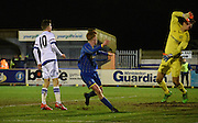 Alfie Egan watches his header loop in during the FA Youth Cup match between U18 AFC Wimbledon and U18 Chelsea at the Cherry Red Records Stadium, Kingston, England on 9 February 2016. Photo by Michael Hulf.