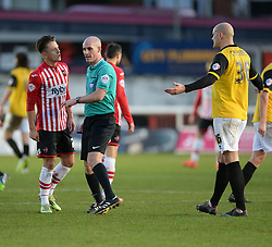 Exeter City's Tom Nichols confronts the referee about decision. - Photo mandatory by-line: Alex James/JMP - Mobile: 07966 386802 - 10/01/2015 - SPORT - football - Exeter - St James Park - Exeter City v Northampton - Sky Bet League Two
