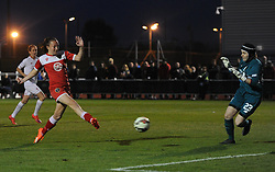 Caroline Weir of Bristol Academy Women defeats Danielle Gibbons of Liverpool Ladies to score her second goal of the game - Mandatory by-line: Paul Knight/JMP - Mobile: 07966 386802 - 04/10/2015 -  FOOTBALL - Stoke Gifford Stadium - Bristol, England -  Bristol Academy Women v Liverpool Ladies FC - FA Women's Super League