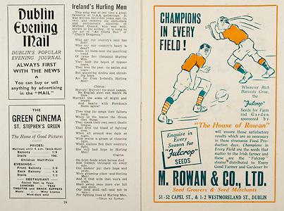 All Ireland Senior Hurling Championship Final,.Brochures,.07.09.1947, 09.07.1947, 7th September 1947,.Kilkenny 0-14, Cork 2-7,.Minor Galway v Tipperary, .Senior Kilkenny v Cork, .Croke Park,..Advertisements, Dublin Evening Mail, The Green Cineman St. Stephen's Green, M Rowan & Co Ltd seed Growers & Seed Merchants, ..Songs, Ireland's Hurling Men, .