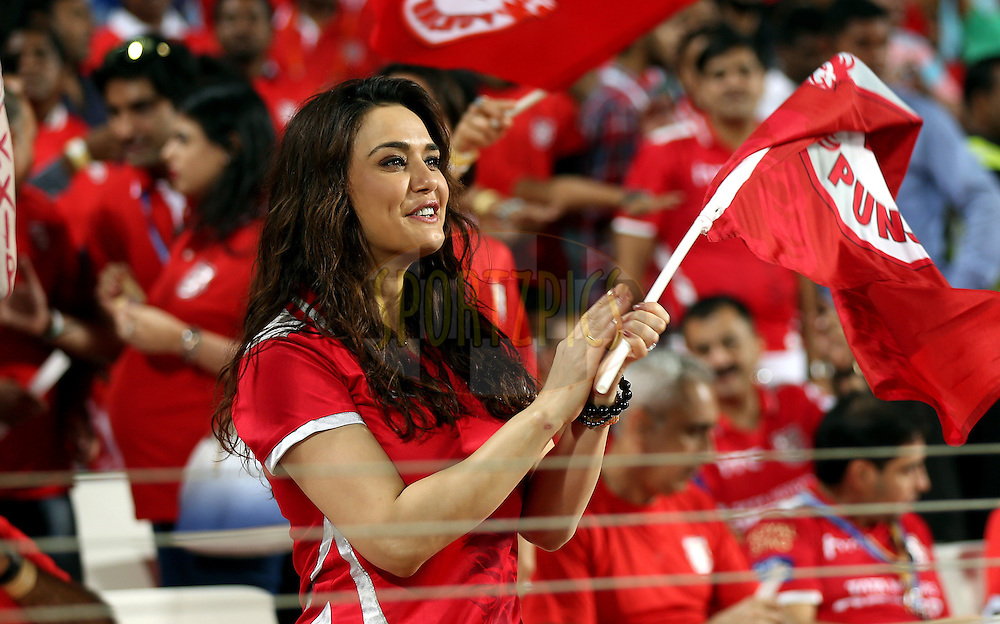 Preity Zinta owner of Kings XI Punjab during match 10 of the Pepsi IPL 2015 (Indian Premier League) between The Kings XI Punjab and The Delhi Daredevils held at the MCA International Stadium in Pune, India on the 15th April 2015.<br /> <br /> Photo by:  Sandeep Shetty / SPORTZPICS / IPL
