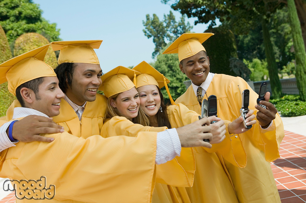 Graduates Taking Pictures with Camera Phones