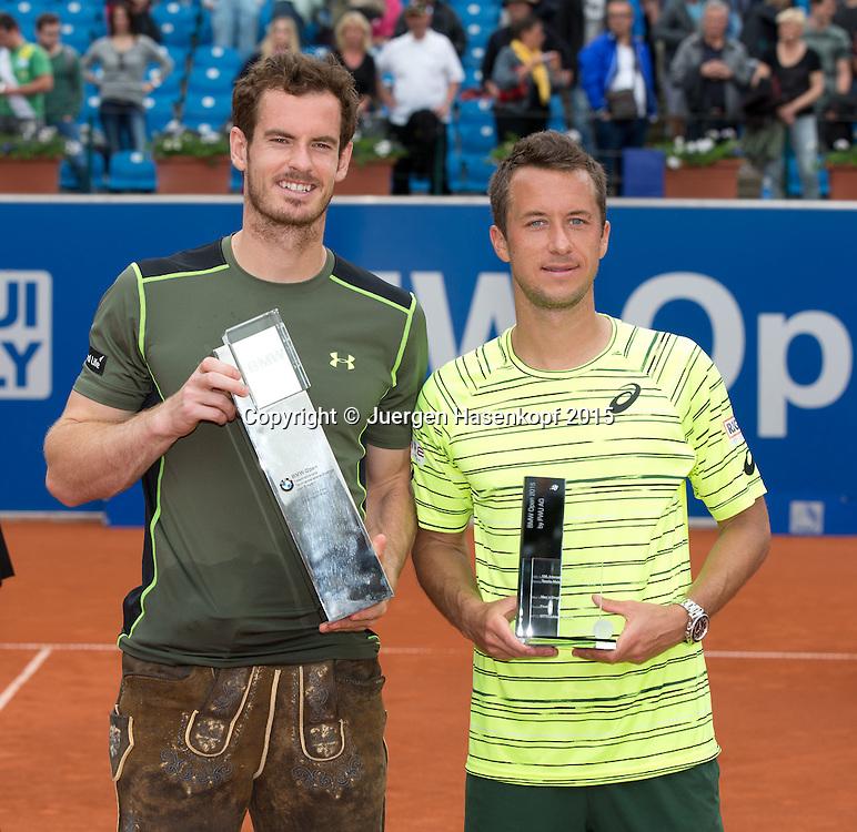 Sieger Andy Murray (GBR) und und Finalist Philipp Kohlschreiber (GER)<br /> <br /> Tennis - BMW Open - ATP -   - Muenchen - Bayern - Germany  - 4 May 2015. <br /> &copy; Juergen Hasenkopf