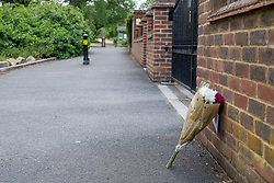 © Licensed to London News Pictures. 07/06/2020. London, UK. Flowers left by a friend inside the cordon at Fryent Country Park. The bodies of two women have been found in Fryent Country Park in Wembley. Metropolitan Police Service were called at 13:08 BST, Oficers found two unresponsive woman, they were pronounced dead at the scene. Photo credit: Peter Manning/LNP