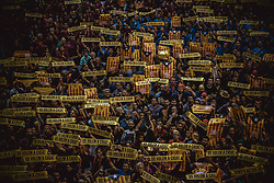 October 6, 2018 - Tarragona, Catalonia, Spain - Castellers hold placards reading 'we want them home' in support of imprisioned Catalan politics at the beginning of day two of the 27th Tarragona Human Tower Competition in Tarragona. The competition takes place every other year and features the main 'Castellers' teams (colles) of Catalonia during a three day event organized by the Tarragona City Hall (Credit Image: © Matthias OesterleZUMA Wire)