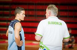 Jaka Lakovic and Bozidar Maljkovic, head coach during training camp of Slovenian National basketball team for Eurobasket 2013 on July 19, 2013 in Sports hall Rogatec, Slovenia. (Photo by Vid Ponikvar / Sportida.com)