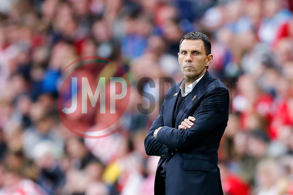 Manager Gustavo Poyet of Sunderland looks frustrated - Photo mandatory by-line: Rogan Thomson/JMP - 07966 386802 - 27/08/2014 - SPORT - FOOTBALL - Sunderland, England - Stadium of Light - Sunderland v Swansea City - Barclays Premier League.