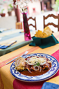 A traditional Oaxacan dish made by Reyna Mendoza Ruíz of El Sabor Zapoteco Cooking School in Teotitlan, Mexico.