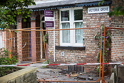 © Licensed to London News Pictures.  02/07/2015. Ripon, UK. Picture shows damage caused by a lightning strike on a house on Victoria Grove in Ripon, Lightning hit the chimney stack causing damage to several cars parked bellow. Firefighters were called out to several lightning strikes in North Yorkshire as the hottest weather for years was followed by thunderstorms. As temperatures soared yesterday afternoon to 31 Centigrade, a band of storms moved northwards across the county, in a line just to the west of York. Photo credit: Andrew McCaren/LNP