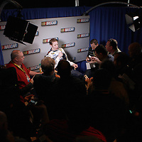 Current Champion Brad Keselowski speaks with the media during the NASCAR Media Day event at Daytona International Speedway on Thursday, February 14, 2013 in Daytona Beach, Florida.  (AP Photo/Alex Menendez)
