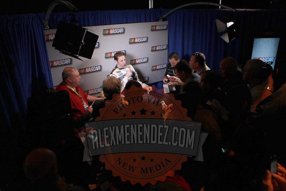 Current Champion Brad Keselowski speaks with the media during the NASCAR Media Day event at Daytona International Speedway on Thursday, February 14, 2013 in Daytona Beach, Florida.  (AP Photo/Alex Menendez)