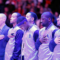 10 January 2014: Dallas Mavericks guard Rajon Rondo (9) stands next to his teammates during the national anthem prior to the Los Angeles Clippers 120-100 victory over the Dallas Mavericks, at the Staples Center, Los Angeles, California, USA.