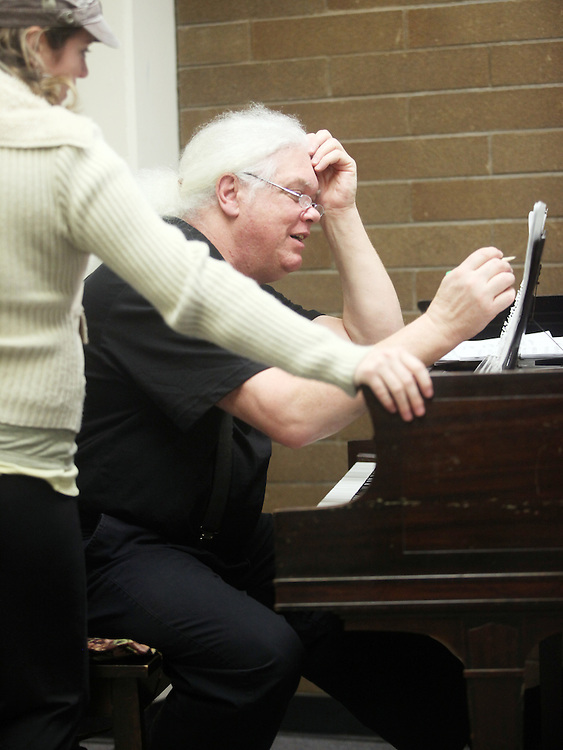To grade his music students' finals, Marshall Tuttle plays their compositions in front of them on Monday, Dec. 12, 2011. No pressure!