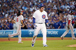 October 9, 2017 - Chicago, IL, USA - Chicago Cubs first baseman Anthony Rizzo (44) celebrates his RBI single in the eighth inning Monday, Oct. 9, 2017 in Game 3 of a National League Division Series playoff at Wrigley Field in Chicago. (Credit Image: © Brian Cassella/TNS via ZUMA Wire)