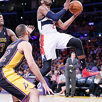 21 March 2014: Washington Wizards guard John Wall (2) goes for the layup during the Washington Wizards 117-107 victory over the Los Angeles Lakers at the Staples Center, Los Angeles, California, USA.