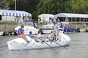 Henley, Great Britain.  Henley Royal Regatta. General View, GV, the Atlantic4 crew, entrants in the Atlantic Ocean Rowing Race 2011, paddle their boat down the Henley Reach. River Thames Henley Reach.  Royal Regatta. River Thames Henley Reach.  Saturday  02/07/2011  [Mandatory Credit  Intersport Images] . HRR