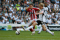 Photo: Steve Bond/Richard Lane Photography. Derby County v Sheffield United. Coca-Cola Championship. 13/09/2008. Paul Green (R) and Billy Sharp (L) stretch for the ball