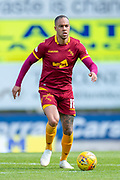 Charles Dunne (#18) of Motherwell FC runs with the ball during the Ladbrokes Scottish Premiership match between St Johnstone and Motherwell at McDiarmid Stadium, Perth, Scotland on 11 May 2019.
