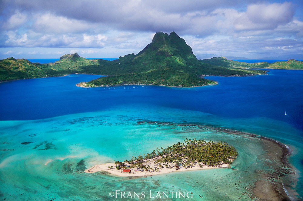 Mount O'Temanu and barrier reef (aerial), Bora Bora, Tahiti