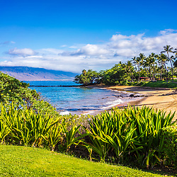 Maui Hawaii Ulua Beach photo in Wailea Makena with Maalaea Bay along the Pacific Ocean. Copyright ⓒ 2019 Paul Velgos with All Rights Reserved.