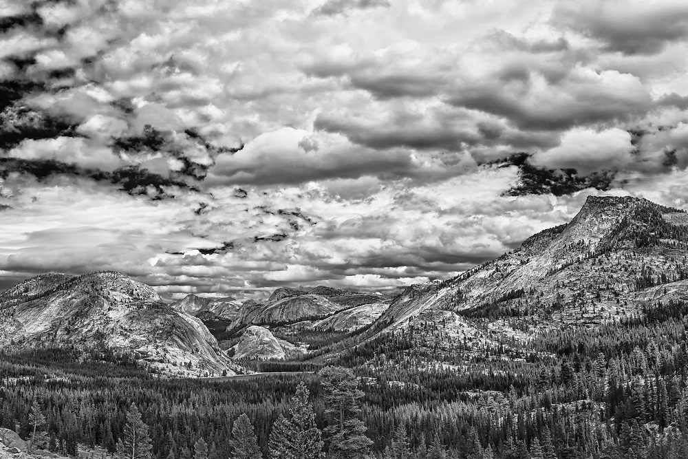 Tenaya Lake Basin - Big Sky Clouds Olmstead Point - Yosemite - HDR - Infrared Black & White