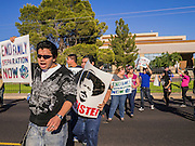 20 MARCH 2012 - PHOENIX, AZ:  Students march during a student protest in support of the DREAM Act on 75th Ave in front of Trevor G. Browne High School Tuesday.   PHOTO BY JACK KURTZ