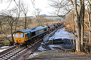 The ballasting train sits quietly to deliver its next load 3 miles north of Galashiels