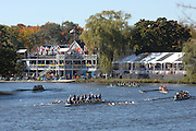 Boston, USA, Youth Men's Eights , approach Eliot Bridge and Cambridge Boat Club, at the Head of the Charles Race, Charles River, Cambridge,  Massachusetts. Saturday  21/10/2007 [Mandatory Credit Peter Spurrier/Intersport Images]..... , Rowing Course; Charles River. Boston. USA Cambridge Boat House
