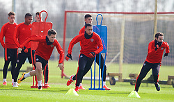 MANCHESTER, ENGLAND - Wednesday, March 16, 2016: Manchester United's Ander Herrera and Memphis Depay during a training session at Carrington Training Ground ahead of the UEFA Europa League Round of 16 2nd Leg match against Liverpool. (Pic by David Rawcliffe/Propaganda)