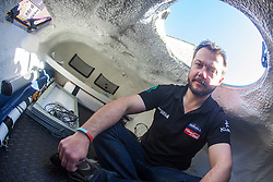 Nick Hancock inside his unique RockPod. He will be staying in this pod during his unique 60 day endurance RockallSolo expedition on Rockall....