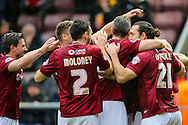 Northampton players celebrate a goal by Marc Richards (not shown) during the Sky Bet League 2 match at Sixfields Stadium, Northampton<br /> Picture by Andy Kearns/Focus Images Ltd 0781 864 4264<br /> 14/11/2015