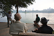 Hoan Kiem Lake. Morning sports.