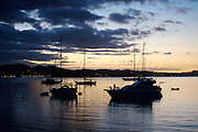 yachts moored in bay at dusk