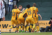 GOAL Mark O'Brien celebrates scoring the goal to save Newport from relegation during the EFL Sky Bet League 2 match between Newport County and Notts County at Rodney Parade, Newport, Wales on 6 May 2017. Photo by Daniel Youngs.