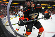 Anaheim Ducks forward Logan Shaw (R) and Calgary Flames defenseman Michael Stone vie for the puck during a 2017-2018 NHL hockey game in Anaheim, California, the United States, on Oct. 9, 2017.  Calgary Flames won 2-0. (Xinhua/Zhao Hanrong)