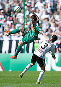 (L) Lechia's Piotr Wisniewski fights for the ball with (R) Legia's Tomasz Jodlowiec during T-Mobile Extraleague soccer match between Legia Warsaw and Lechia Gdansk at Pepsi Arena in Warsaw, Poland...Poland, Warsaw, May 05, 2013..Picture also available in RAW (NEF) or TIFF format on special request...For editorial use only. Any commercial or promotional use requires permission...Photo by © Adam Nurkiewicz / Mediasport